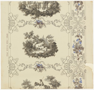 a) A full width with just over one repeat. Rectangular compartments outlined with scrolls, enclosing alternating medallions of sheep in landscape and mounted stable-boy with horse at trough; to right, vertical band of scrollwork set with floral sprays; b) and c) give little more than one unit of the design. a) Printed in grays, blue, green and white on grey ground; b) printed in grays, blue, green and white on glazed white; c) printed in grisaille and white on grey ground.