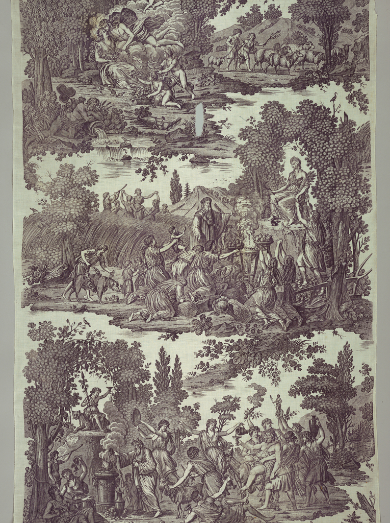 Panel of cotton, plain weave, plate-printed in violet. Design of the Four Seasons. Above, left, Cupid appearing from a cloud kisses a miaden; right, boys with sheep; center, gathering of the crops, sacrifice of offerings to Ceres; below, Bacchic revel. Printed by Hartmann et Fils - Munster 1818-1820.