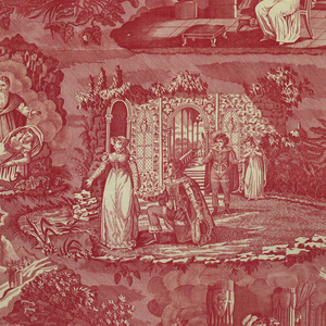 Four vignettes with figures in Elizabethan costume. Are scenes from an opera, popular in the 19th century, known as Le Vampire. In one of the vignettes is a tablet with these words imprinted upon it.