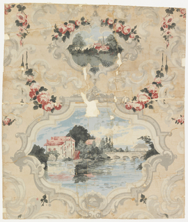 One large and one small scene alternating, each enclosed in a rococo scroll which is printed in grisaille. The background is peach. Large scene, old house by side of a stream with an arched bridge. Small scene, cottage and church spire in cluster of trees viewed from across meadow. Scenes in red, rose, blue and green. Copy of old 19th century paper. Printed by Thomas Strahan Co. for John J. Morrow of New York.