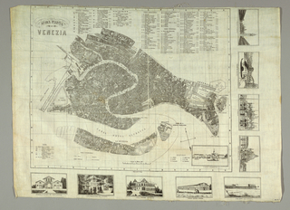 City plan of Venice with lists for hotels, churches, and sites of interest. Pictures of nine important buildings on right and bottom sides. Letter and number coordinates provide location information.