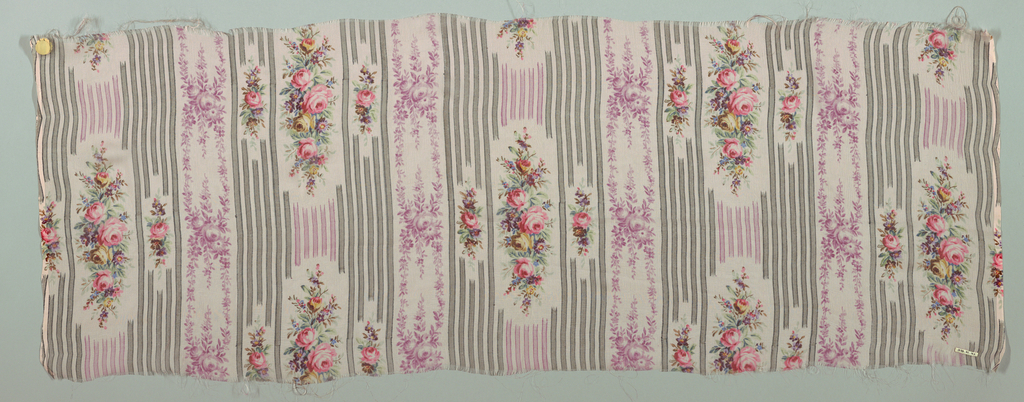 Three samples of printed chiffon, each with a different color ground, with a design of narrow vertical stripes alternating with small-scale sprays and vertical vines of flowers.