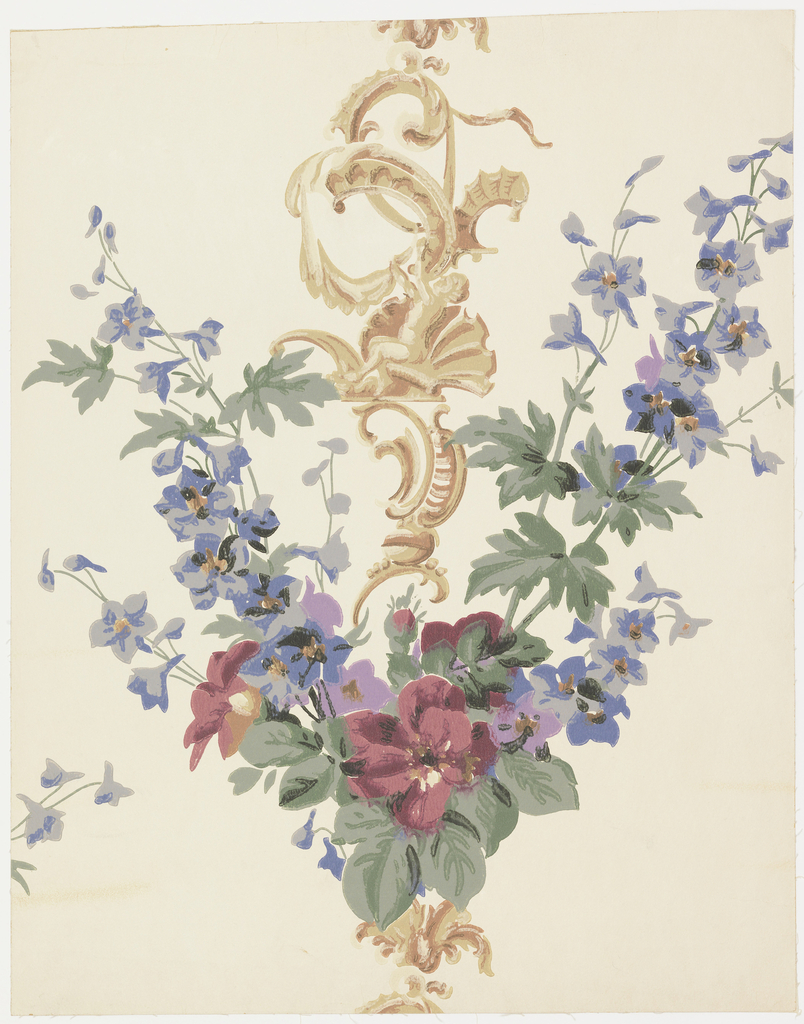 "A rococo ornament of the time of Louis XV is flanked on either side by a spray of delphiniums which meet at bottom where there are roses. Sprays form a ""V"". It is the type of floral design popular during the Victorian period. Printed on reverse: ""Birge, waterfast, glaze-tek, sidewall 5958 C"". Printed in mauve, green, blue, wine red and browns on ivory field. Not original colors."