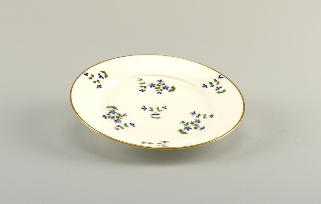 Vieux Paris cornflower design on white porcelain plate.