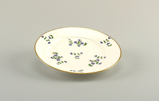 Vieux Paris cornflower design on white porcelain plate.