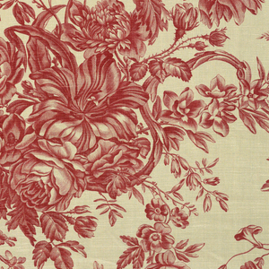 Large scale design of flowering branches printed in red on a white ground.