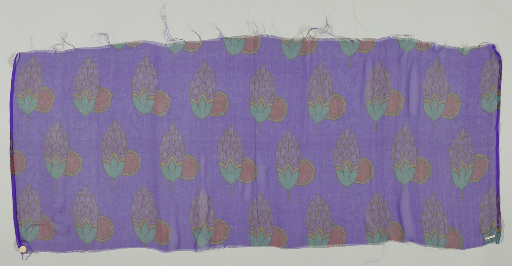 Five samples of chiffon, each with a different color ground, with a design of an artichoke and scalloped circle. Both selvedges present on all samples.