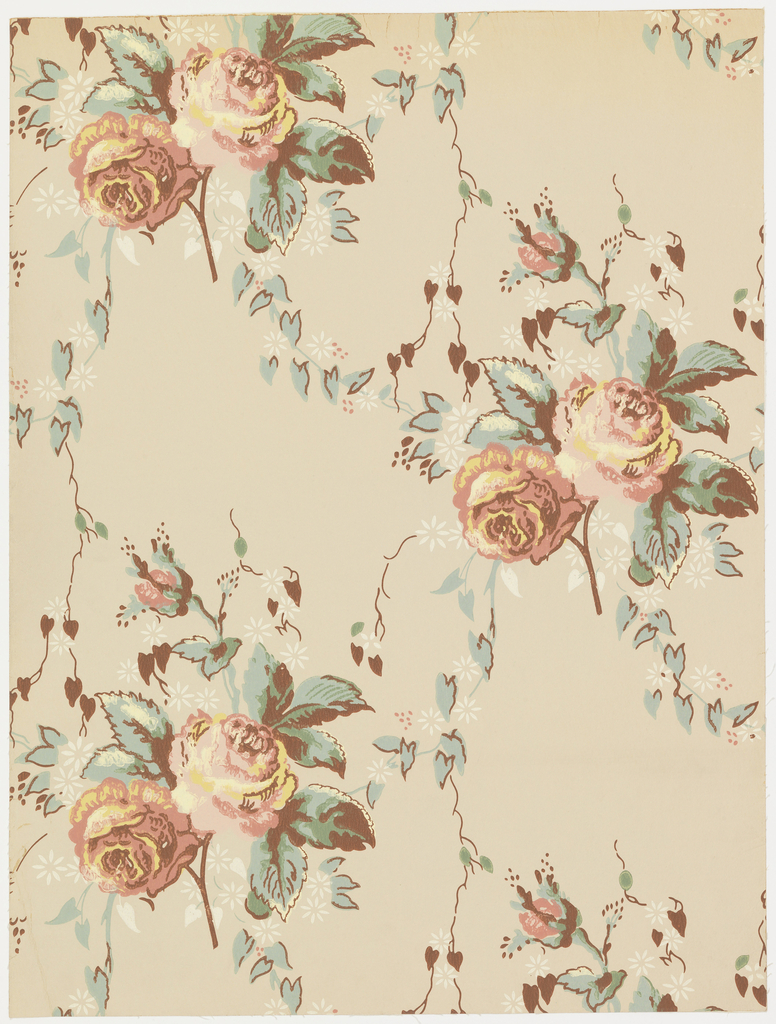 "Evenly distributed clusters of roses, each bouquet consists of two blooms and a bud. Bouquets are connected by festooned sprays of delicate vines. Reproduction of an old Victorian wallpaper. Printed on reverse: ""Birge, waterfast, Glaze-tek, sidewall 5418 C""."