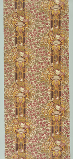 Pillar print with continuous vertical pillars with urns of flowers and scrolls with mermaids printed in yellow and red, on a ground of ivy in red outlined in white on an olive ground. An engraved roller was used for the red, and relief rollers for the yellow and olive.