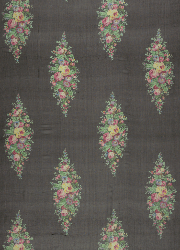 Three samples of printed chiffon, each with a different color ground, with a design of life-sized roses and other flowers arranged in a lozenge form in offset. Both selvedges present on each sample.