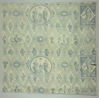 Blue and white copperplate printed textile.