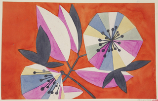 Graphic, abstract multicolored blossoms and leaves on a thin slate branch on orange ground.