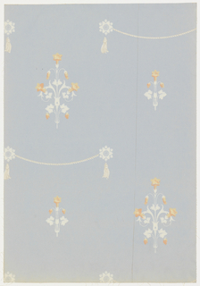 "Two small alternating stylized clusters of flowers with small rosettes between each row. Horizontal rope swags are attached to rosettes. Reproduction of wallpaper brought from France in early part of 18th century to Virginia by the nephew of Pierre de Lorme who was a soldier of fortune. Printed on reverse: ""Birge waterfast, Glaze-tek sidewall 3187 C""."