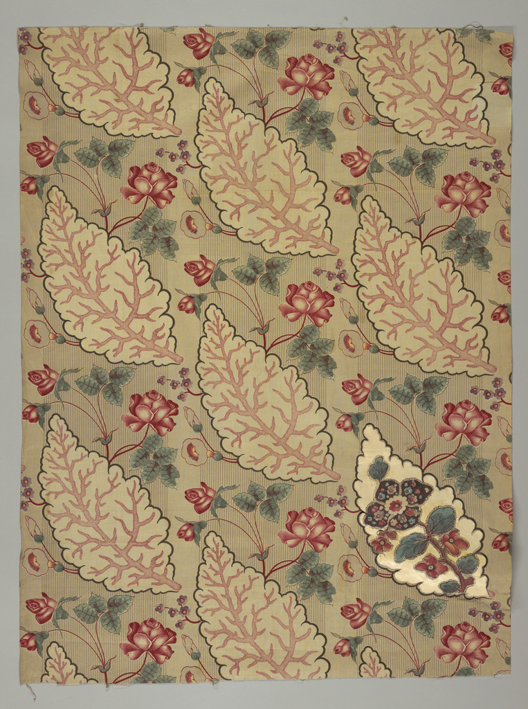 Panel of cotton printed in combination of roller for background; large leaf and rose spray block-printed in colors, - red, green, yellow with blue, and brown. Cardboard inlay in one leaf, with altered pattern, made by designer.