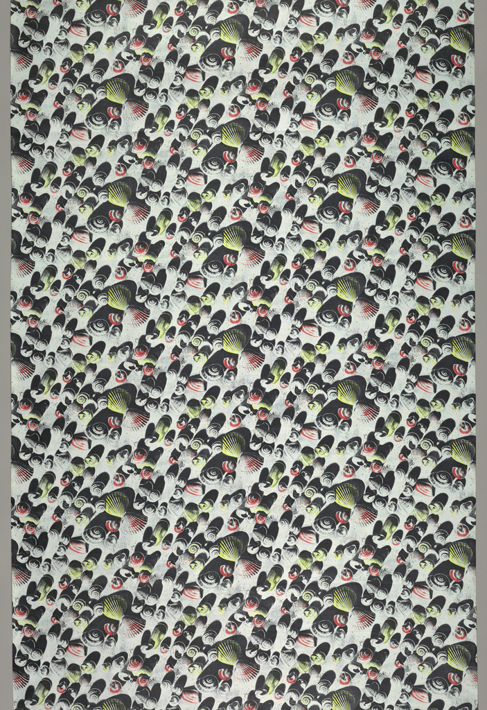 Length of printed cotton with an overall design of sea shells and their shadows, in three-dimensional, photographic effect. In shades of gray, yellow, and pink on a white ground.