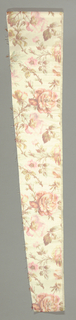 Fragment with a white ground has an allover design of life-sized roses in pink, green and brown.