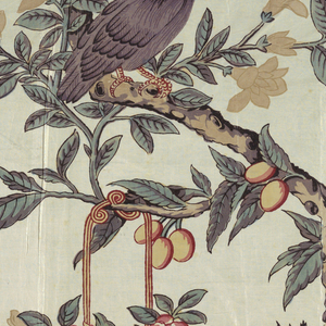 Curving branch with a mynah-like bird and a basket of flowers in offset repeat.