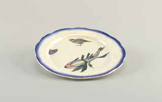 Plate with fish, bird, and shell, bordered in blue.
