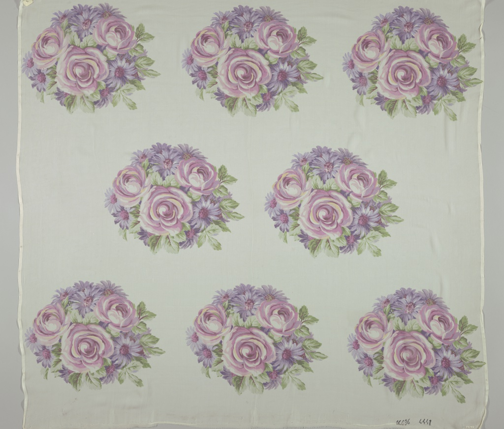 Staggered horizontal repeat of round mass of pink and purple roses and asters on an off-white ground. Both selvedges present on all samples.