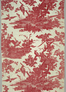 The pattern, in red on a white ground, depicts a large tree trunk with various birds; a hawk attacking a bird at the foot of the tree;  at left, a large crested bird watches another bird drinking from a pool below.