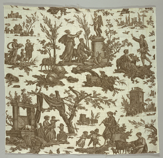 Printed in dark brown showing a shepherd and female figure in classical dress making an offering to love who stands on a pedestal; children dancing while shepherd plays his flute; domestic scene of a mother with children; several shepherds and shepherdesses, sheep, dogs, cats and fowl; background glimpses of architectural detail.
