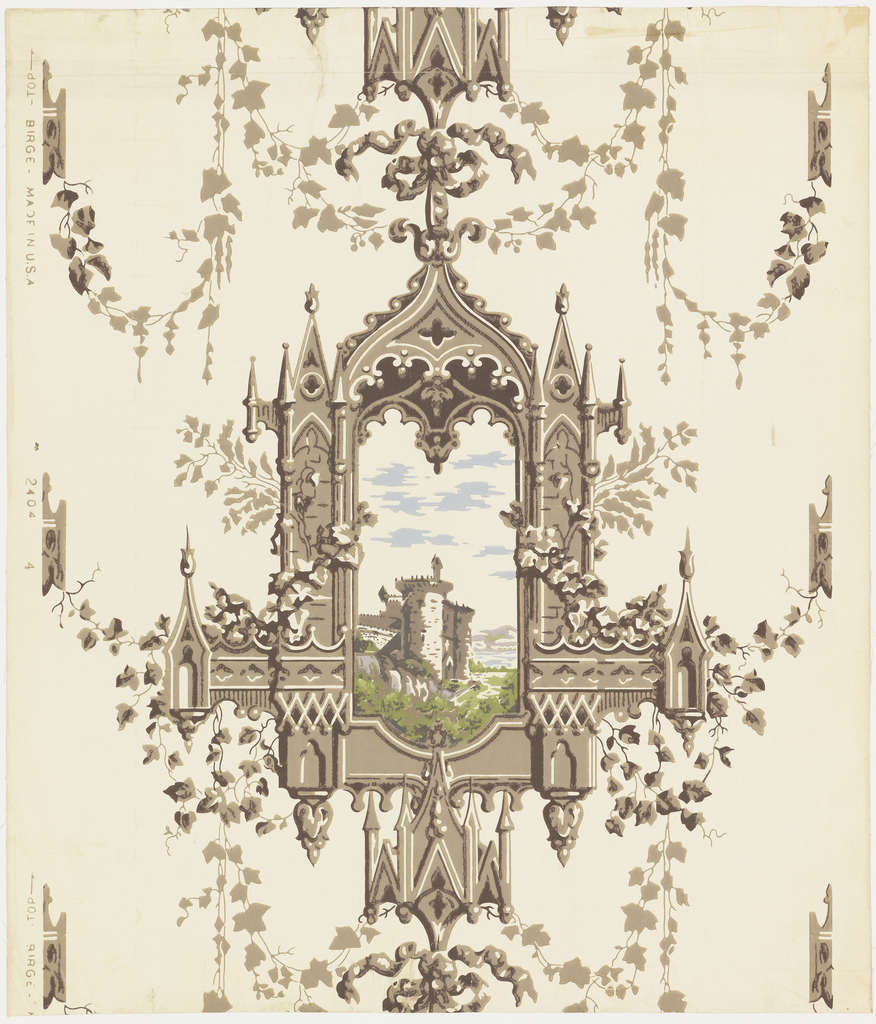 """Reproduction of an old English paper of the romantic Gothic era of Sir Walter Scott. An elaborate Gothic window frame simulating carved stonework with climbing and festooned ivy. Through the window is depicted a country scene with an old ruined castle. Reproduced for the dining room of the house where Theodore Roosevelt was born in New York City. Printed on selvedge: """"Birge, 2404-4. Made in U.S.A."""""""