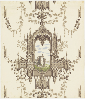 "Reproduction of an old English paper of the romantic Gothic era of Sir Walter Scott. An elaborate Gothic window frame simulating carved stonework with climbing and festooned ivy. Through the window is depicted a country scene with an old ruined castle. Reproduced for the dining room of the house where Theodore Roosevelt was born in New York City. Printed on selvedge: ""Birge, 2404-4. Made in U.S.A."""