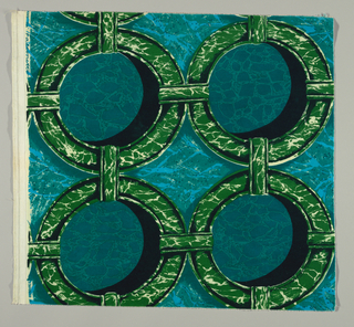 Marbelized circles with shadows in black, green, 3 blues and white. Same pattern as 2000-10-5 but in a different colorway and on a different foundation fabric.