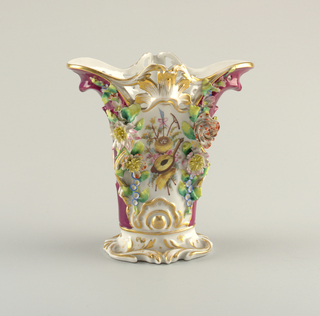 Vase with Porcelain Flower Appliqués Vase, ca. 1840–60