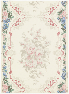 Reproduction of French paper made in the first quarter of the 19th century. Was found in a closet of the old Benjamin Creamer house on Essex Street, Salem, Massachusetts. Center motif is a large spray of roses which forms a drop repeat. It is enclosed in a large panel with delicate interlaced scrolls. A continuous floral motif of roses and bluebells is between and forms a border on each side. It is printed in the original colors: rose and gray, blue, green and brown on ivory ground.