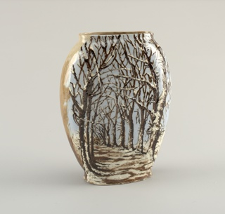Vase in form of flattened oval, with truncated top forming oval lip.  Flat base.  Decorated with mottled brown and white underglaze slip at back.  At front, pale blue ground decorated in trailed and brushed slip with winter landscape;  foreground mottled white and brown, with double row of leafless trees.  Interior clear glazed over tan body.  fine crackle over entire surface.