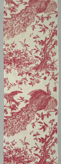 Peacock, parrot and magpie with foliage and flowers, printed in red on white.