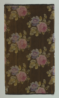 Heavyweight silk with horizontal ribbing has large-scale pink and violet roses on a dark brown ground.
