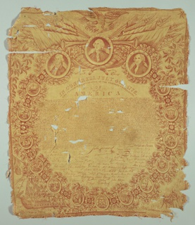 Commemorative textile, likely marking the half-century mark of the American Revolution, has the Declaration of Independence with signatures filling circular central area, framework of state seals, and stars with oak twigs, eagle, trophées of war, and portraits of Washington, Adams and Jefferson at top. Scenes from the Revolutionary War in the lower corners.