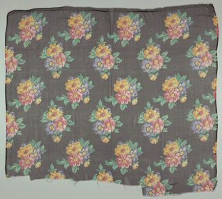 Three samples of printed chiffon, each with a different ground color. Polychrome design of three dahlias in staggered horizontal repeat. Both selvedges present on all samples.