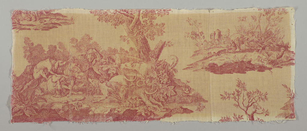 Part of toile 1947-17-13. Hunting scenes in red on off white.