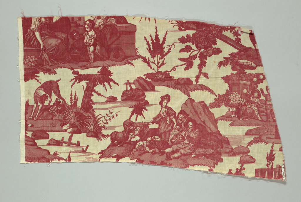 """Dites Merci"" country scenes. Printed in red on white. From the factory of J. D. Meillier et Cie. (1792-1826). Cf. Clouzot, Histoire de la Manufacture de Jouy, etc., Paris, 1928, pl. 52."