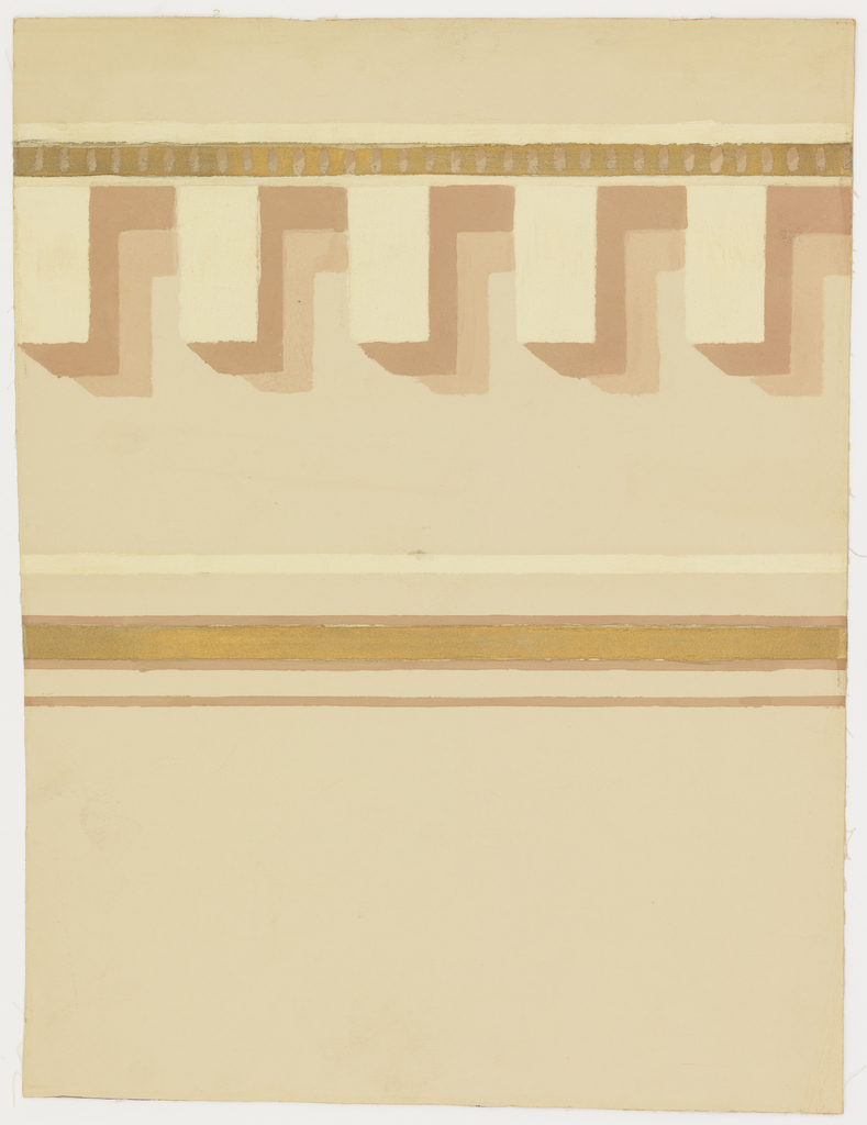 Cream paper with border having gold bands and dentil molding shaded in terra cotta.