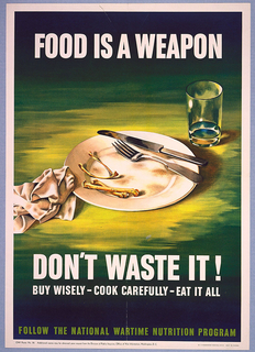 Poster depicts a plate with chicken bones and fork and knife, an empty glass, and a used napkin, all on a green table. Inscribed in white, upper margin: FOOD IS A WEAPON; lower margin: DON'T WASTE IT! / BUY WISELY - COOK CAREFULLY - EAT IT ALL / [in green] FOLLOW THE NATIONAL WARTIME NUTRITION PROGRAM.