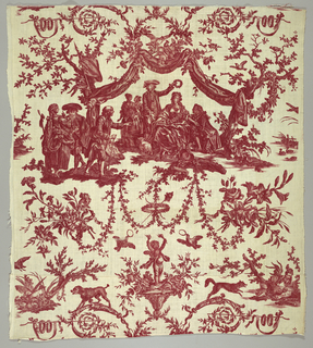 Scene of a group under a fabric canopy. Seated woman holding a lamb on a leash is being crowned with a wreath by a gentleman in a tricirne hat. Other images include; flowers, garlands, putti, a poodle, a leaping wolf and domestic fowl.