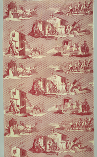 Five scenes illustrating the story of Don Quixote. In red on white.