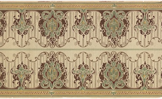 Printed two across. Foliate medallions, large containing fleur di lys alternating with smaller, against striped background with scalloped top edge. Printed in deep red, green and tan on off-white spotted ground.