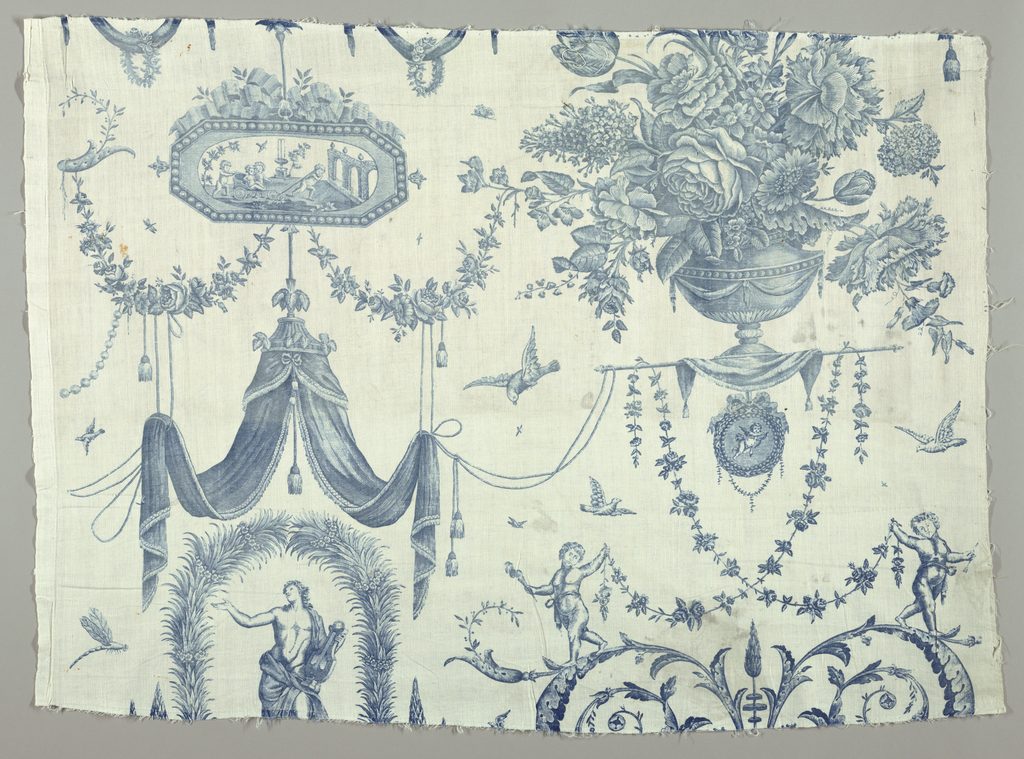 Three pieces have been stiched together to complete design which shows; left, classic figure of man bearing a lute, under draped canopy; right, symmetrical foliage decoration with putti bearing garlands; below, right, large vase of flowers; and left, small medallion with putti drawing cart. Printed in blue.  Three maujor fragments have been put together. A narrow strip from a separate lengths has been sewn on each side, at top right and middle left, indicating that when fabric lengths were sewn together the repeat was a half-drop.