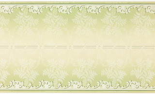 Printed two borders across the width. Repeating motif of fern sprouting up from scrollwork along bottom edge. Printed in green on background that shades from light yellow at top to green at bottom.