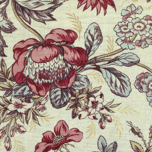 Printed cotton with half-drop repeat of bunches of flowers including tulips, roses and peonies with fine yellow leaves in background.