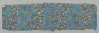 Sample of sheer blue-colored silk with a multicolored print of four vertical columns formed by solidly massed small-scale flowers. Over this, a design of scrolling lines, circles and irregular lozenges brocaded in metallic gold thread. Both selvedges present.