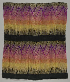 Gradient horizontal stripes of black, purple, magenta, pink, orange and yellow are woven with supplementary gold threads that form a chevron pattern over the stripes and are separated by solid horizontal bands of black.