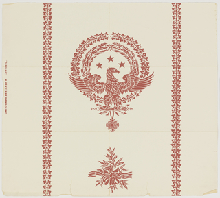 Spread eagle facing right, perched on bunch of lightning arrows from which a medal is suspended. Wreaths of laurel and ivy surrounding the eagle. This motif alternating vertically with smaller, consisting of ribbon tied around twigs. Vertical bands of ivy on sides.  a) Metallic gold on white; b) red on white.