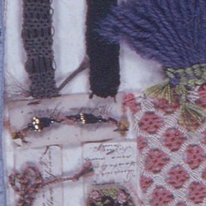 Twenty-three examples of cords. Trimmings and watch fobs sewn onto a cardboard card. Three examples are sewn to small pieces of paper with notes in German.