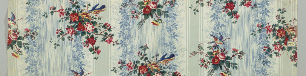 A) Grey ground of stripes and foliage over-printed in design of flowering vine. B) Similar groudn to A but printed in clusters of natural size rosebuds.  C) Same groudn effect as A but in blue; pattern over-printed of rose clusters with a birds nest and bird.